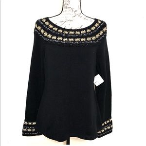 Long Sleeve Black Gold Knit Pullover Sweater Top L